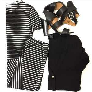 Zara Trafaluc Black and White Striped Dress